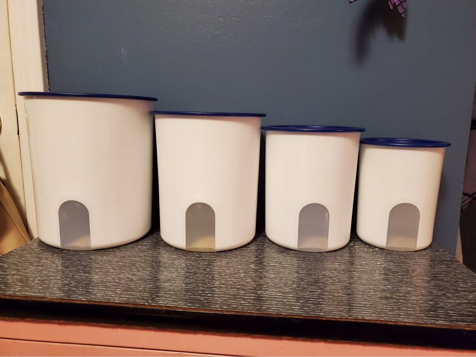 Tupperware Canisters Navy Blue & White