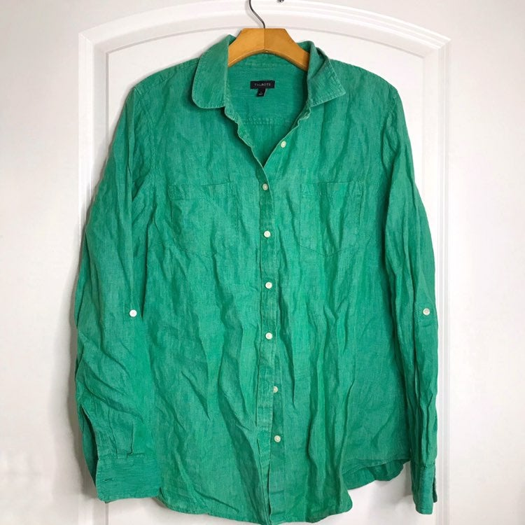 Talbots Green Linen Button Down Blouse