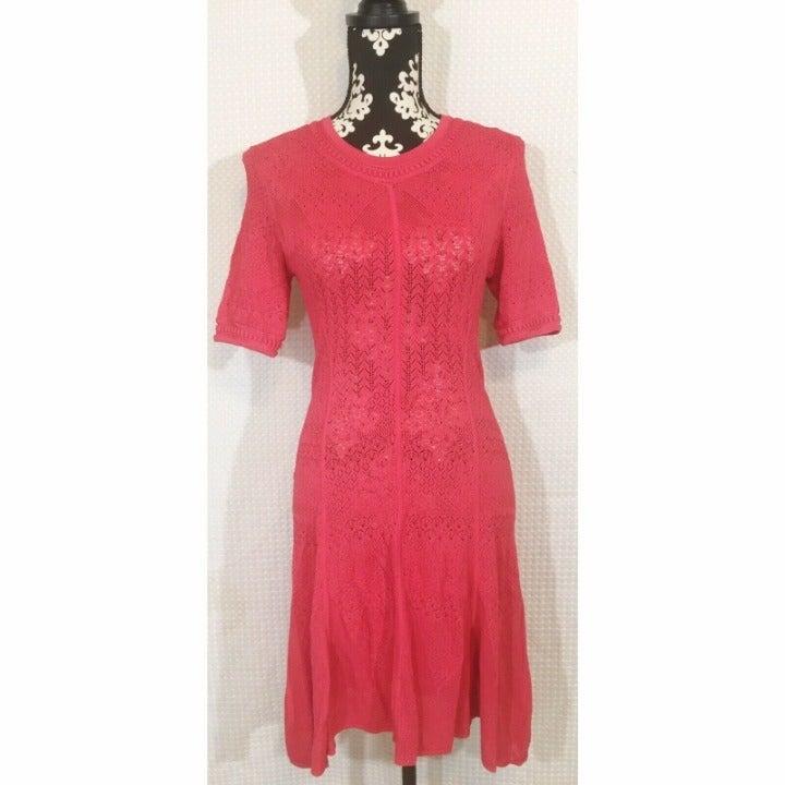 BCBGMAXAZRIA Dress Pink Open Knit Short