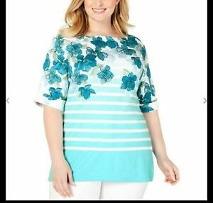 Karen Scott printed boat neck top NWT