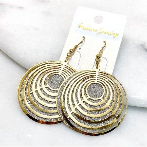 Gold & Silver Geometric Dangle Earrings