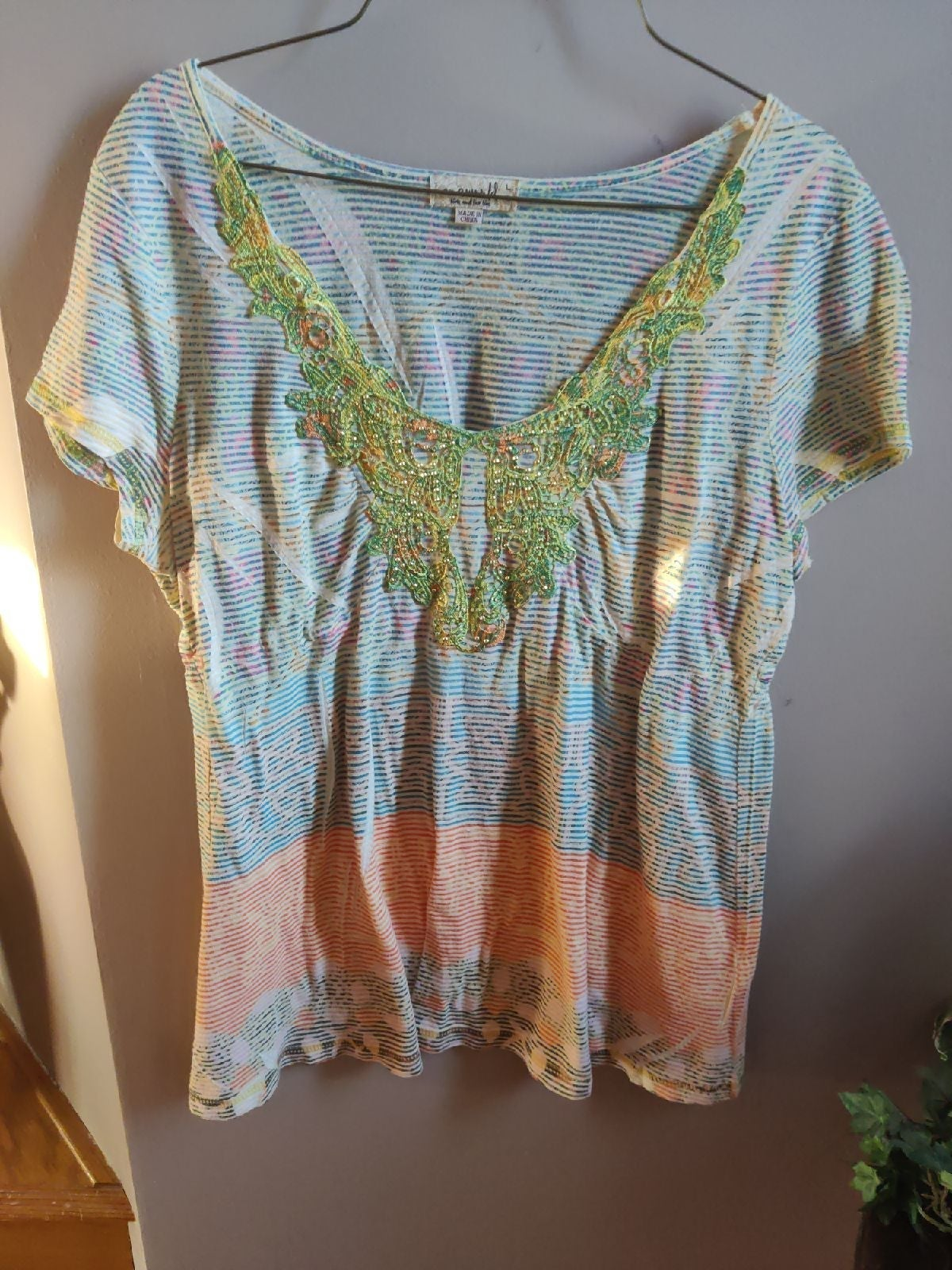 NEW One World Striped & Beaded Top Sz L