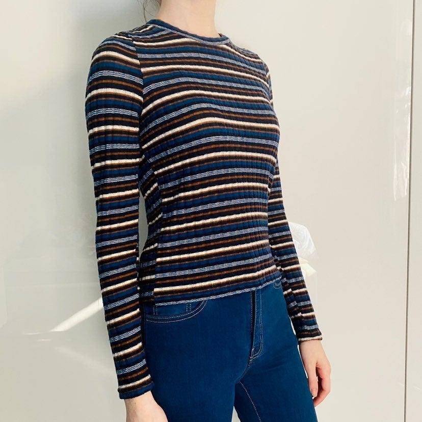 Long sleeve shirt womens blue striped
