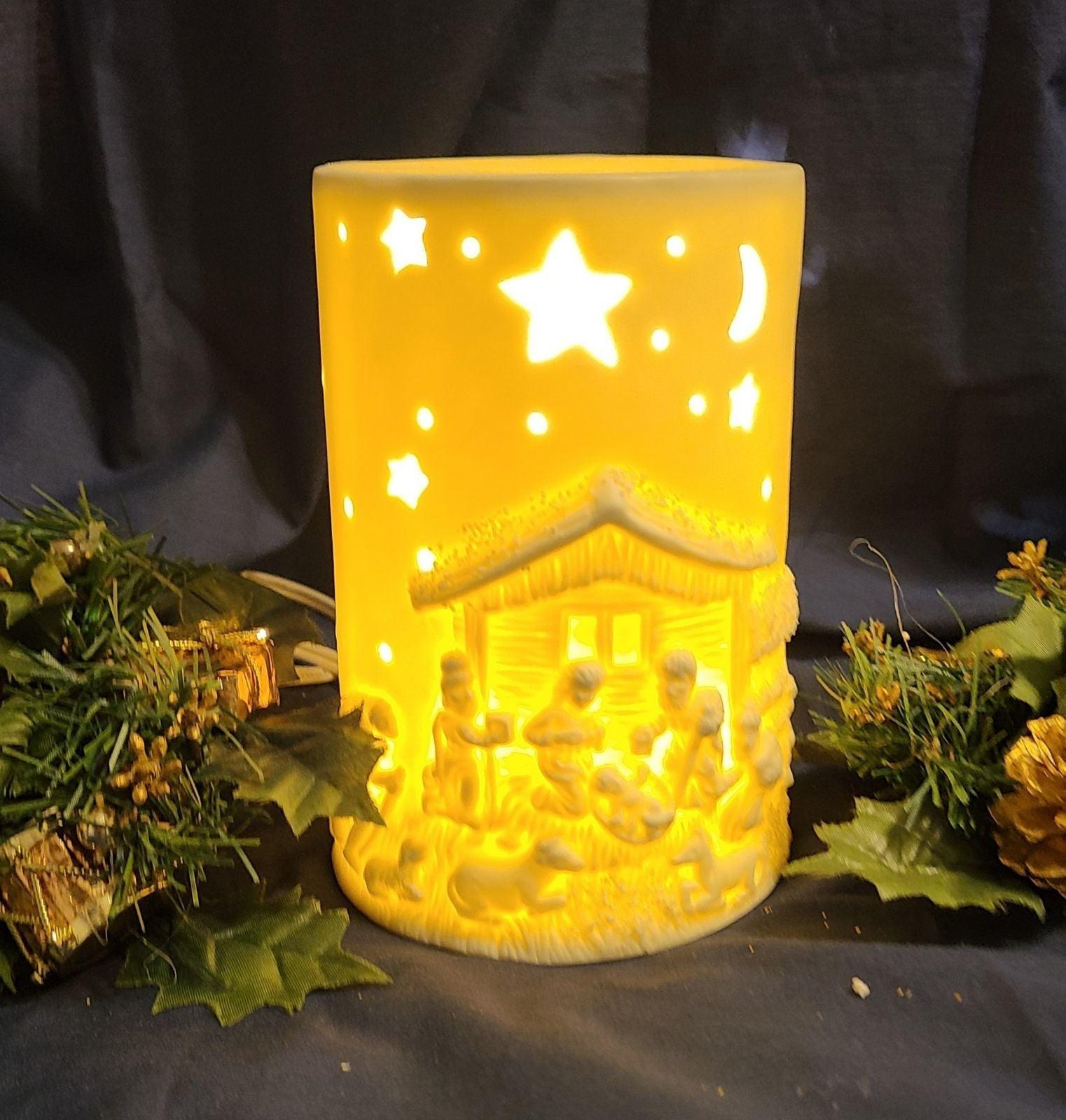 "5-1/4"" Lighted Rd Porcelain Christmas Na"
