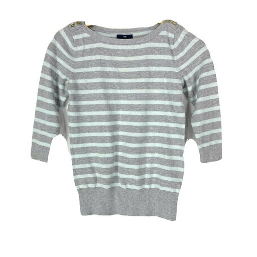 Gap S Small Sweater Knit Top 3/4 Sleeve Mint Green Gray Stripe Gold Button Shoul