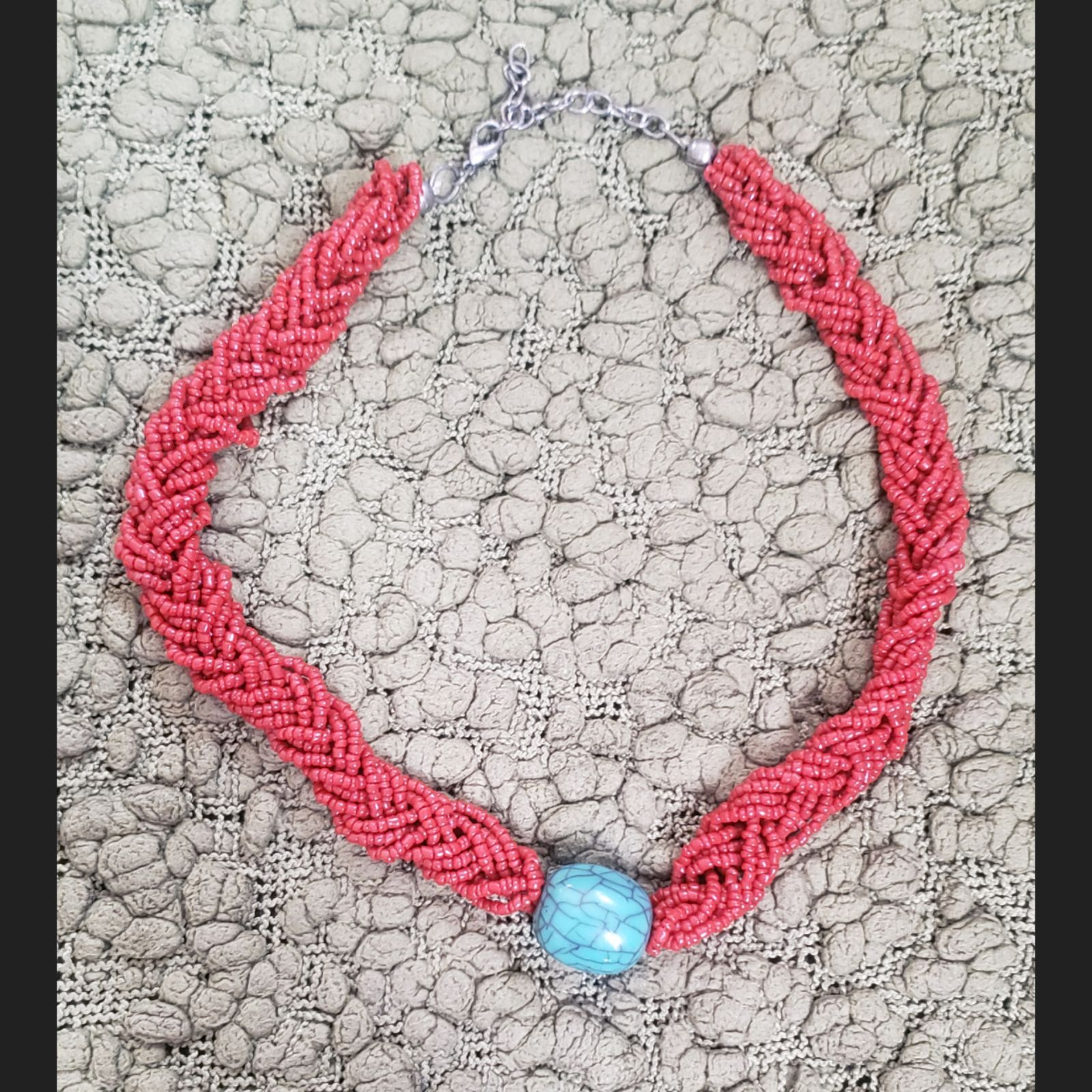 Red braided seed bead necklace