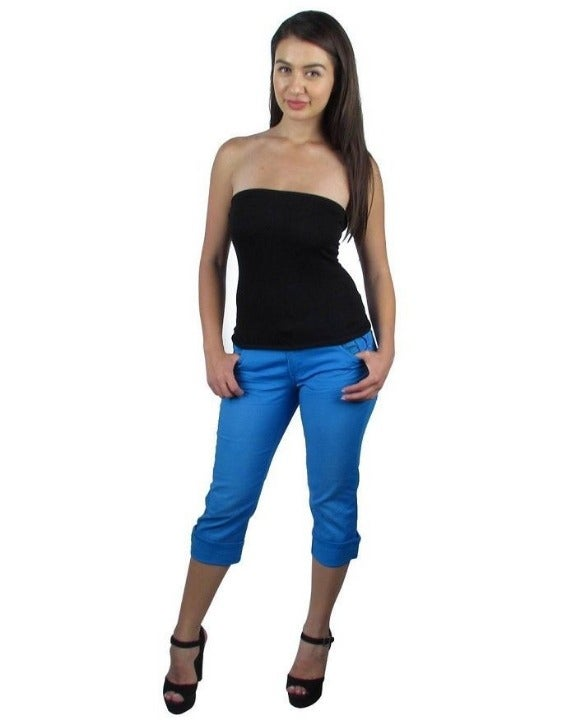 NEW Blue Cuffed Capri Rhinestones Pants