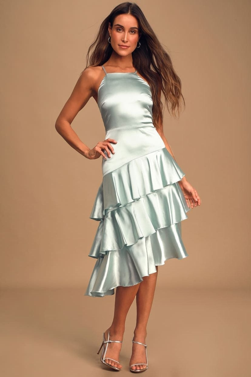 Lulus Call You Up Mint Satin Tiered Midi