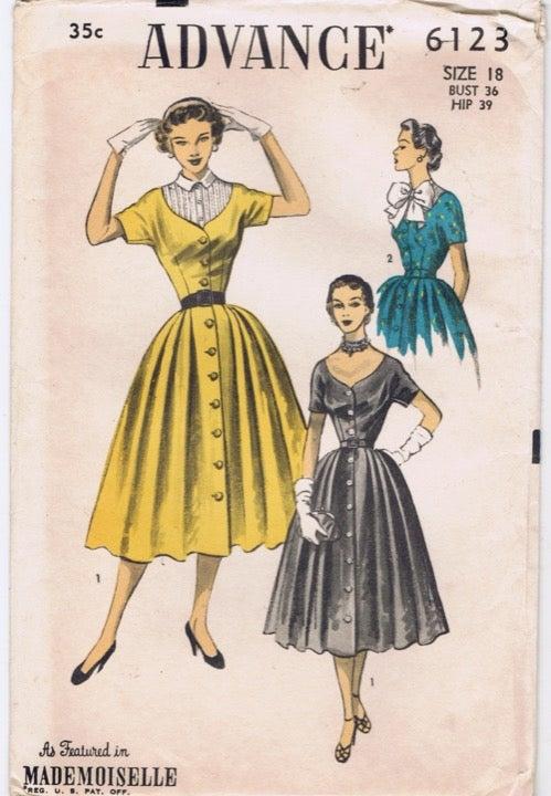 1950 Advance Pattern 18 Full Skirt Dress