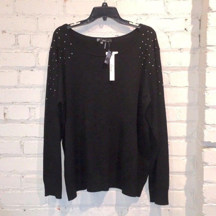 Sioni Woman black studded sweater 2X NWT