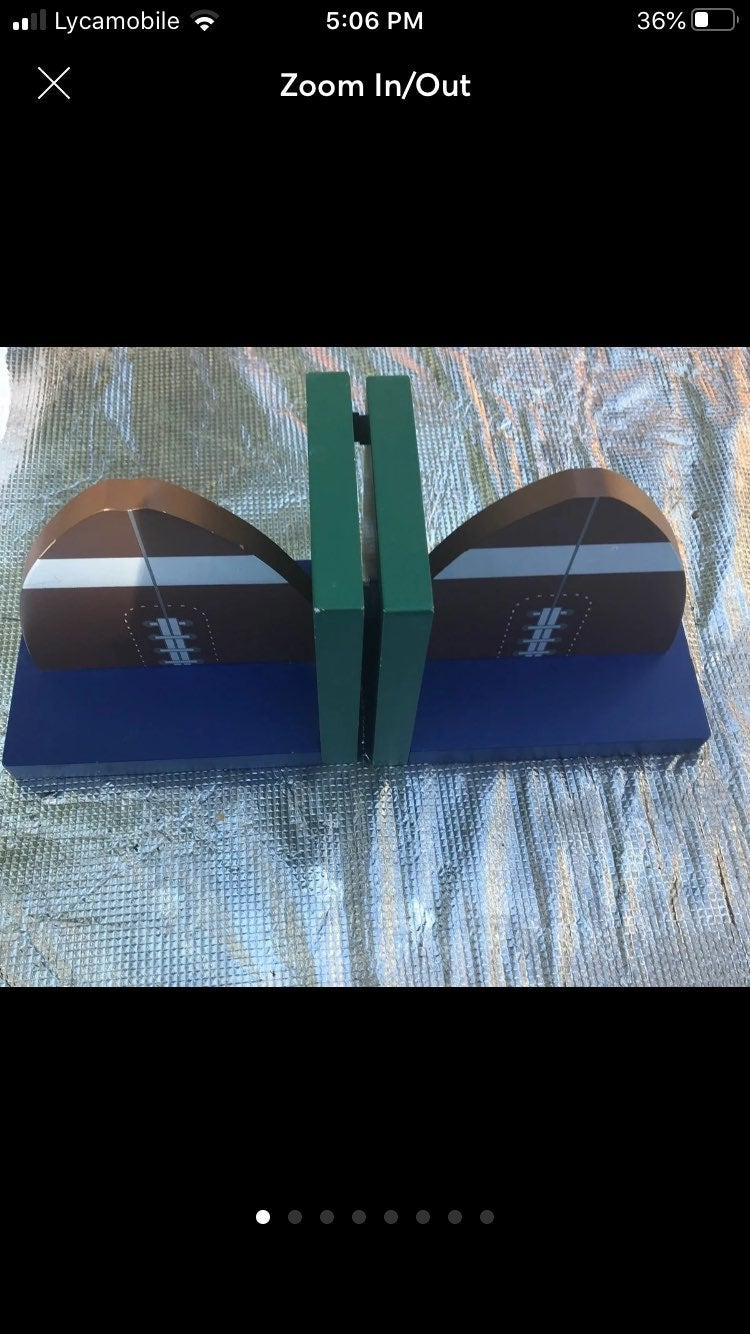 Pair of Soccer ball wooden bookends-2