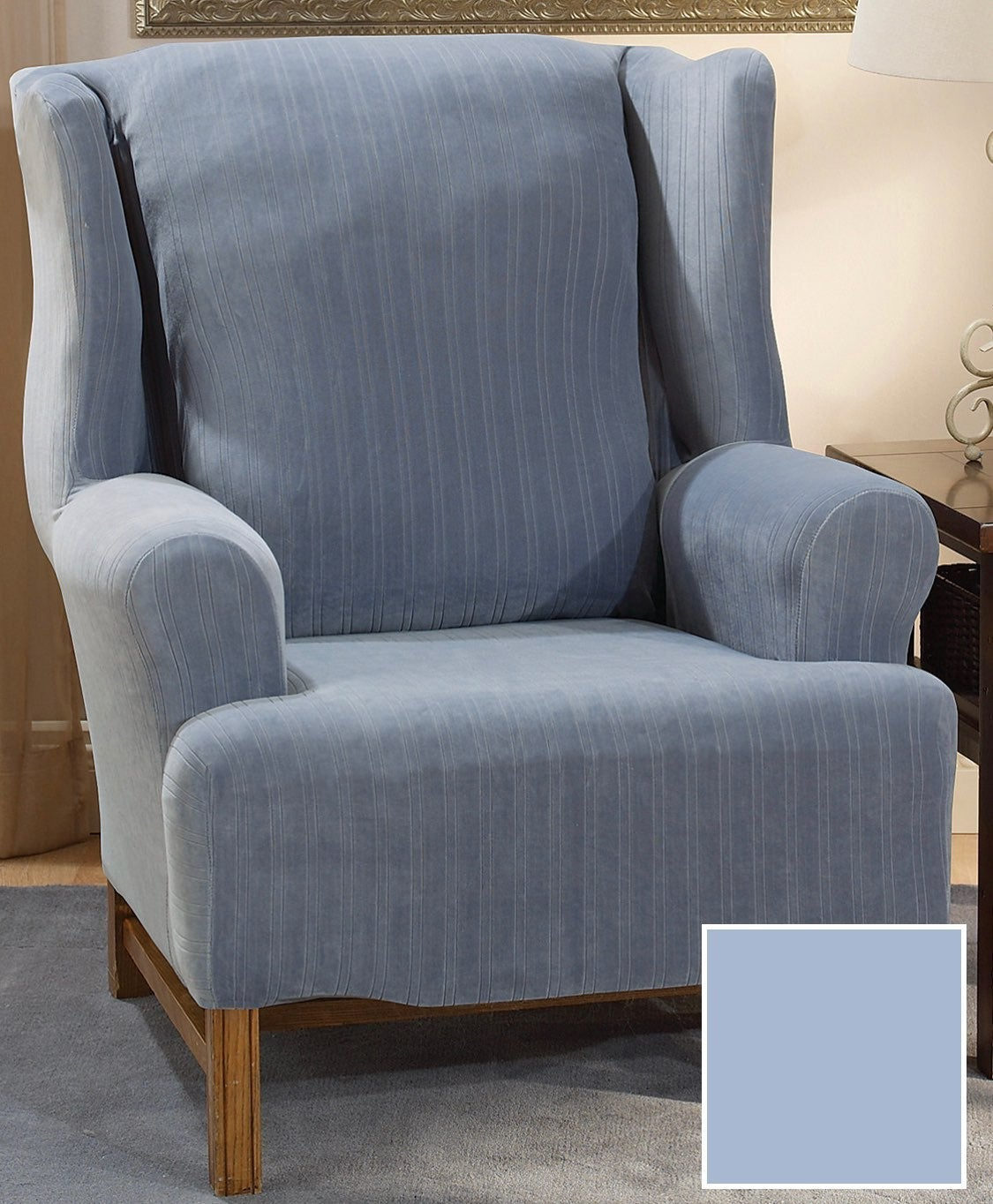 Surefit Wing Chair Cover French Blue