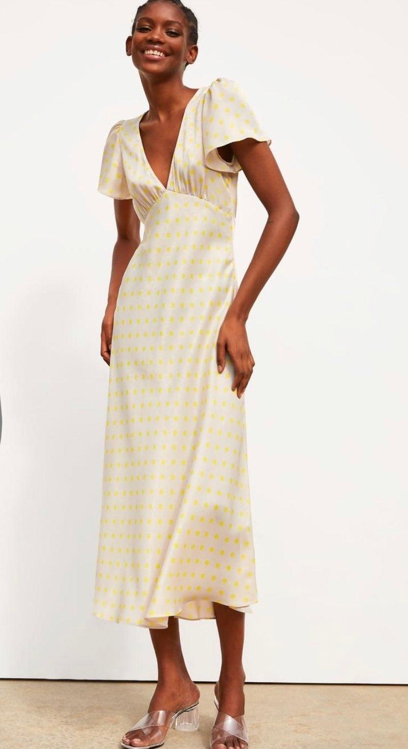Zara neon pokadot dress