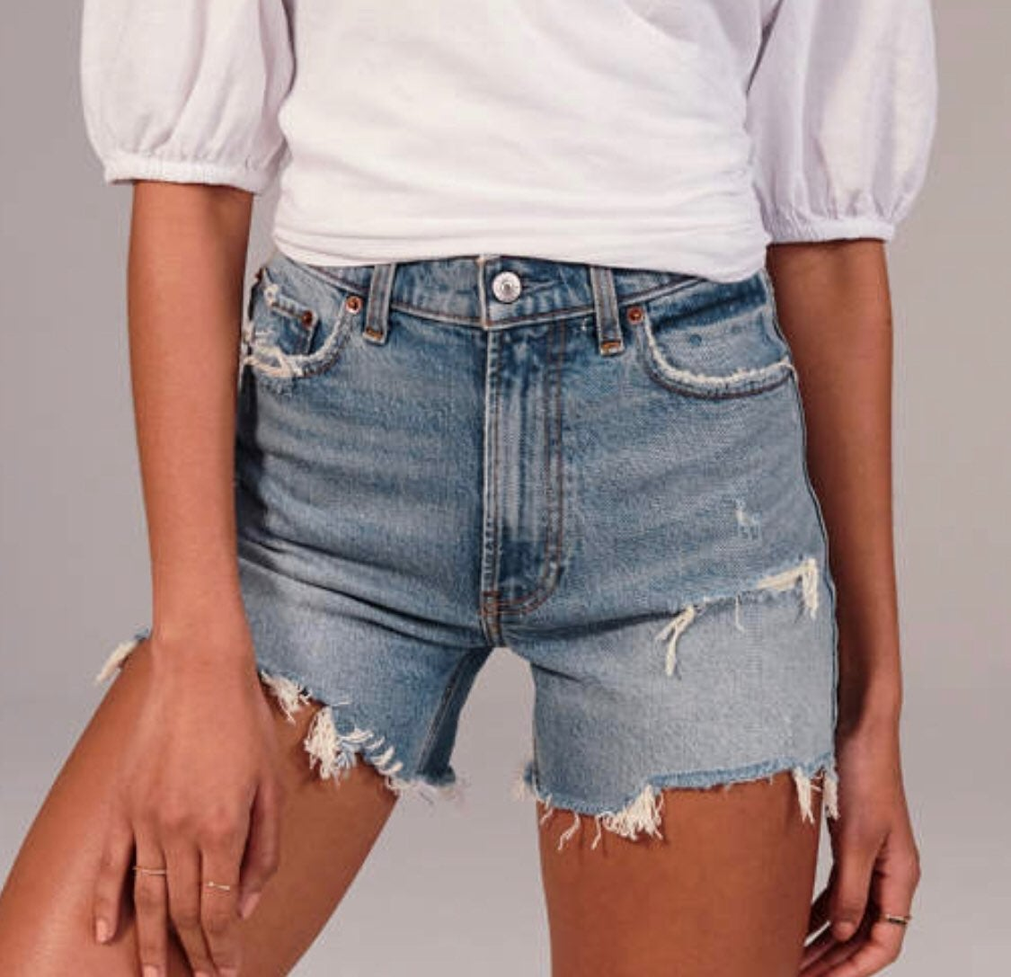 Abercrombie High Rise 4 Inch Mom Shorts