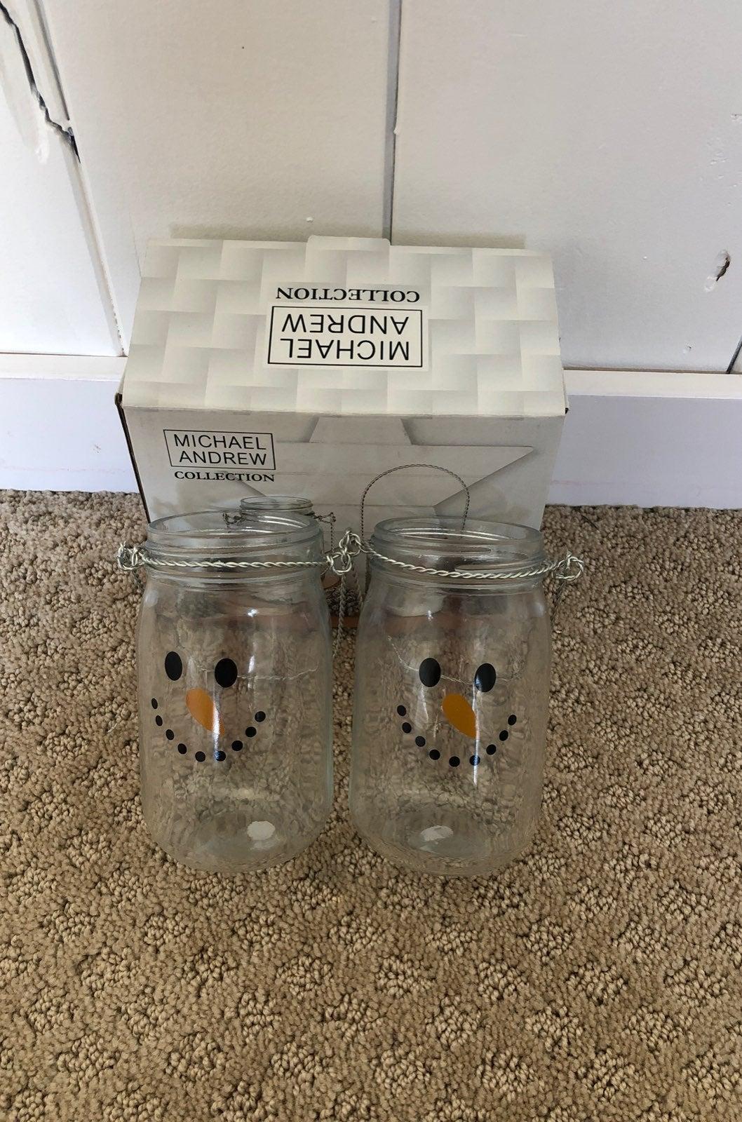 Snowman Jar Tea Light Holders Set