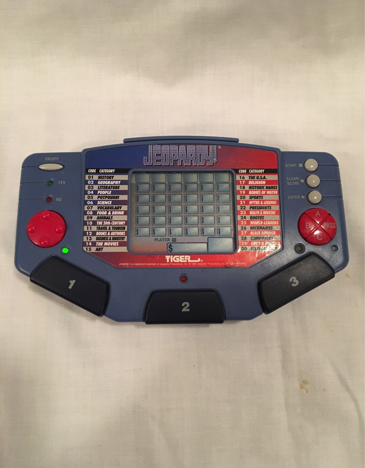 1995 Tiger Electronics JEOPARDY Game.