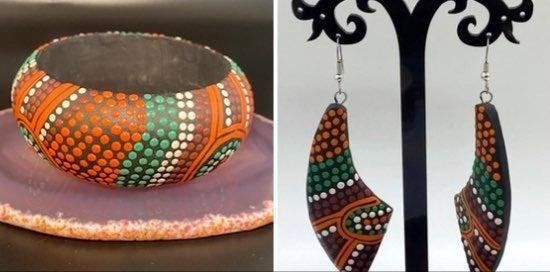 Wood Painted Earrings & Bangle Bracelet