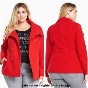 51a6b0b521b Torrid Double Breasted Red Pea Coat 0