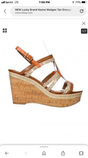 e142becd0261 Shop New and Pre-owned Lucky Brand Cork Wedge Sandals