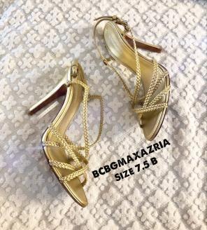 ad65475f1 BCBGMAXAZRIA Metallic Gold Strappy Heels
