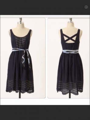 087f9661809 ANTHRO Moulinette S Navy Eyelet Dress