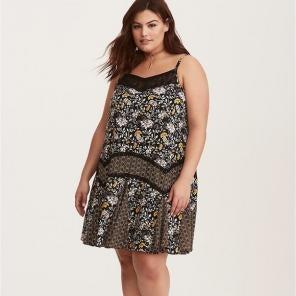 Floral Challis Lace Trim Dress  121bcfb02
